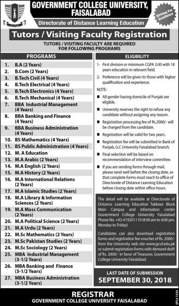 Jobs In Government College University GCU Lahore And Faisalabad