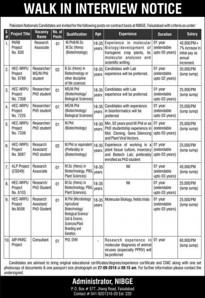Jobs In National Institute For Biotechnology And Genetic Engineering (NIGBE)