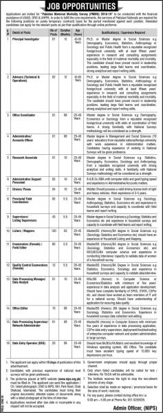 Jobs In Pakistan Maternal Mortality Survey PMMS 2018-19