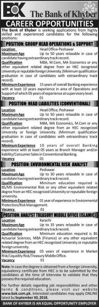 Jobs In The Bank Of Khyber (Multiple Cities)