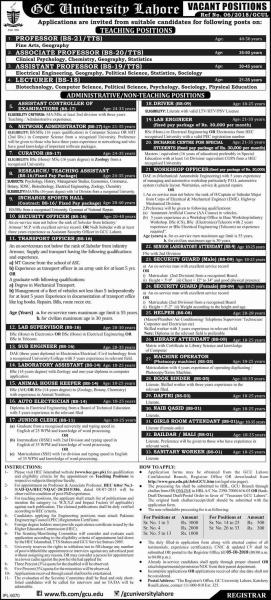 Jobs In Government College GC University Lahore