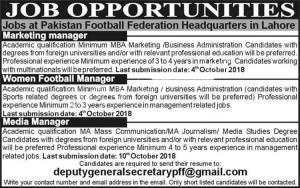 Jobs In Pakistan Football Federation PFF Lahore