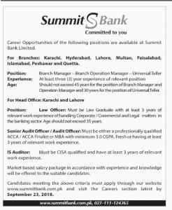 Jobs In Summit Bank Limited (Multiple Cities)