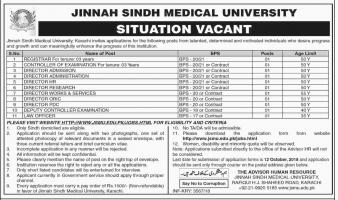 Jobs In Jinnah Sindh Medical University
