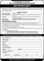 Jobs In Ministry Of Maritime Affairs Government Of Pakistan