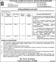 Jobs In Punjab Agriculture Research Board