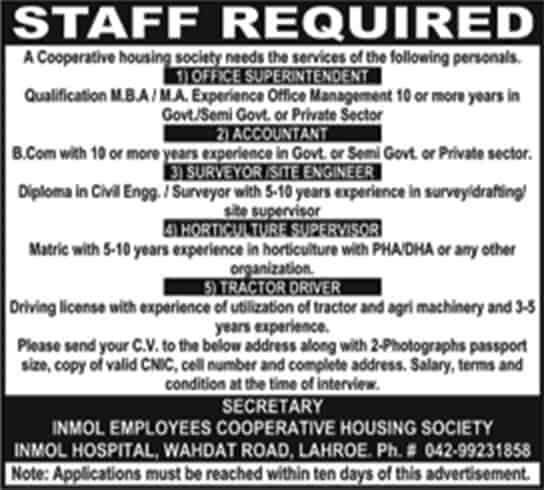 Jobs In Inmol Employees Cooperative Housing Society Lahore