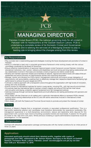 Jobs In Pakistan Cricket Board PCB