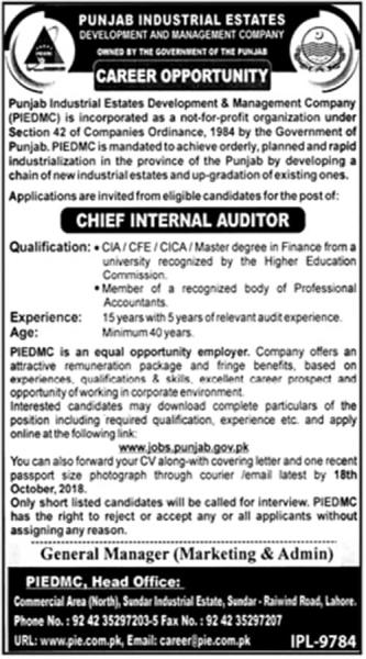 Jobs In Punjab Industrial Estate Development And Management Company PIE