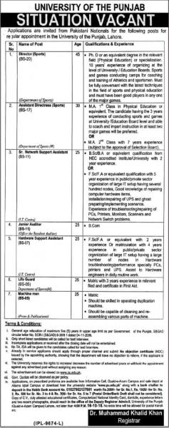 Jobs In University Of The Punjab PU