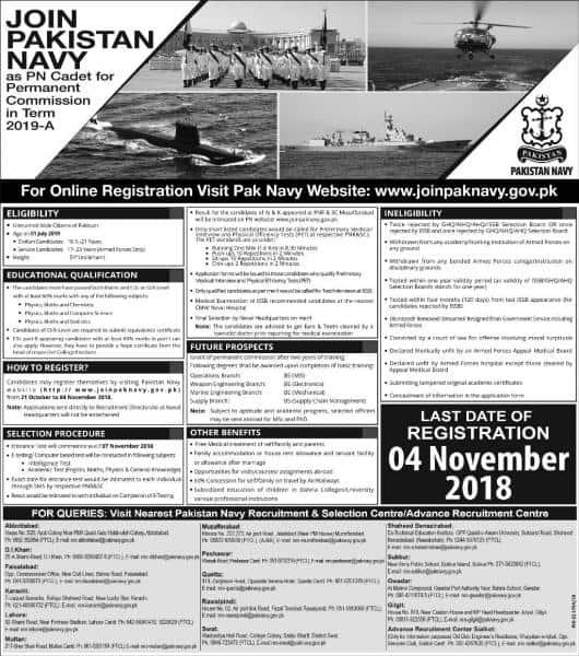 Join Pakistan Navy As PN Cadet - Pak Navy Jobs