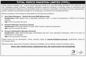 Jobs In Total Parco Pakistan Limited