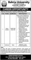 Jobs In Bahria University Lahore Campus