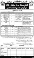 Jobs In Cantonment Board Public School And College For Girls, Walton Cantt Lahore