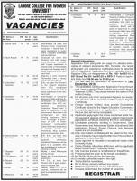 Jobs In Lahore College For Women University