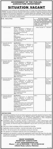 Jobs In Agriculture Department Govt Of Punjab