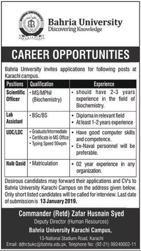 Jobs In Bahria University Karachi Campus
