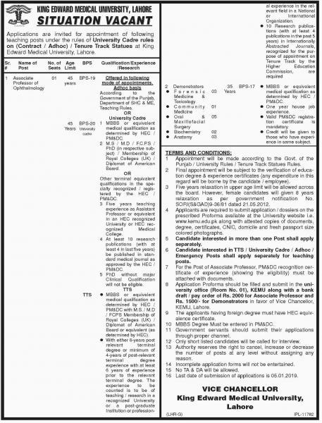 Jobs In King Edward Medical University Lahore KEMU