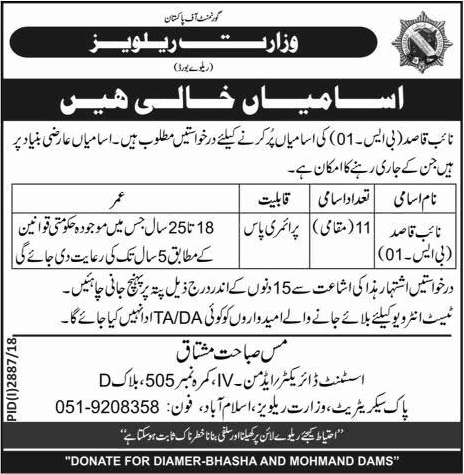Jobs In Ministry Of Railways Govt Of Pakistan