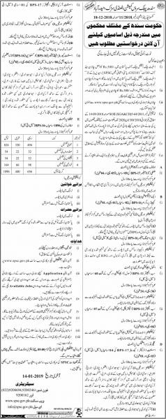 Jobs In Sindh Public Service Commission - SPSC Jobs 2019 - Apply Online