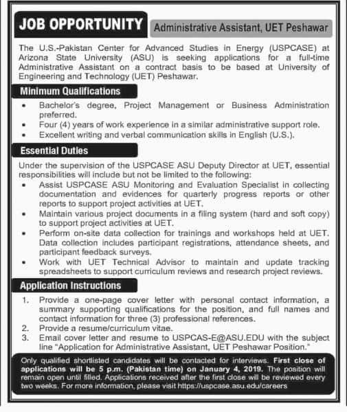 Jobs In University Of Engineering And Technology UET