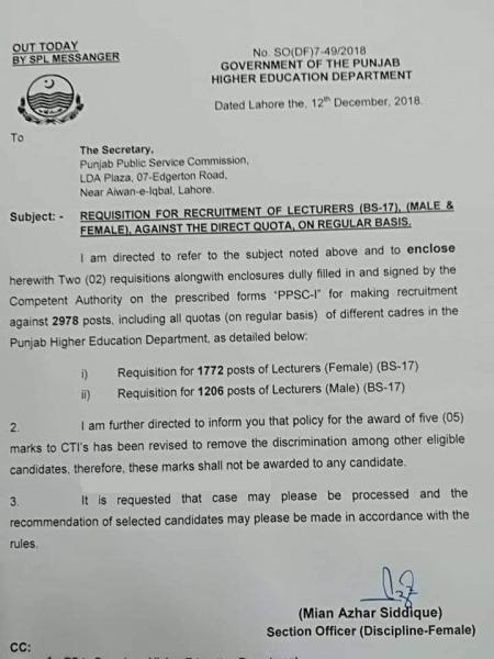PPSC Lecturer Jobs 2019 - Upcoming 978+ Lecturer Vacancies