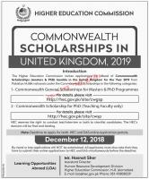 HEC COMMONWEALTH GENERAL SCHOLARSHIPS (MASTERS & PHD) 2019