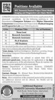 Jobs In COMSATS University Islamabad