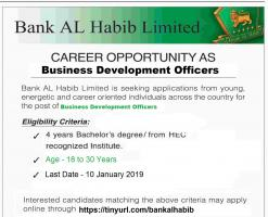 Latest Jobs In Bank Al Habib 2019