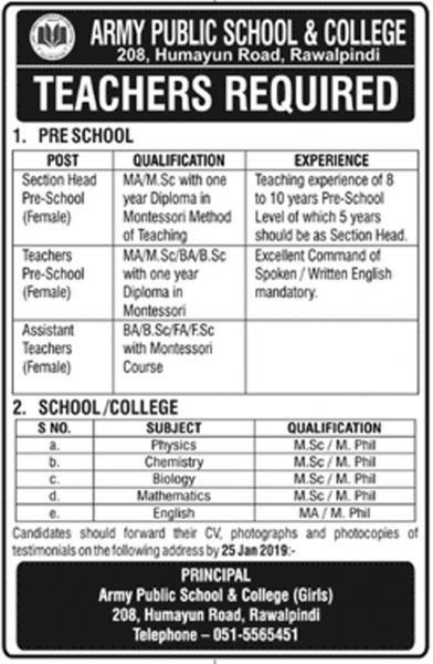 Jobs In  In Army Public School And College Rawalpindi