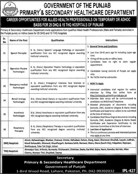 Jobs In Primary And Secondary Healthcare Department 2019