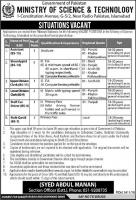 Jobs In Ministry Of Science And Technology Govt Of Pakistan