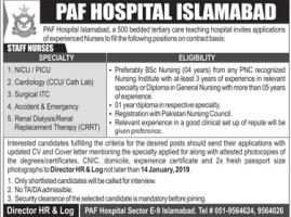 Jobs In PAF Hospital Islamabad  2019