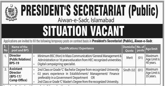 Jobs In President House Islamabad - President Secretariat Jobs 2019