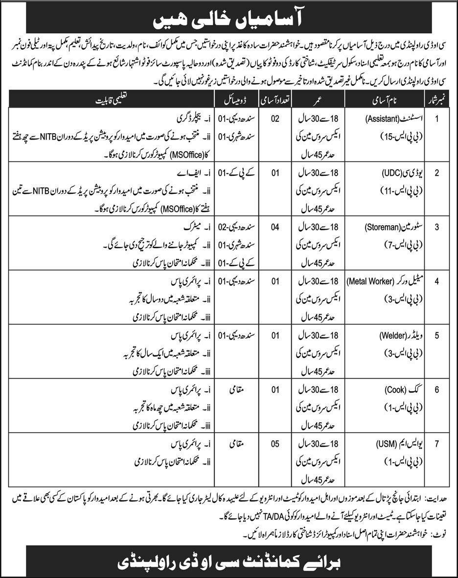 Jobs In Pakistan Army 2019 - Central Ordnance Depot COD Rawalpindi Jobs