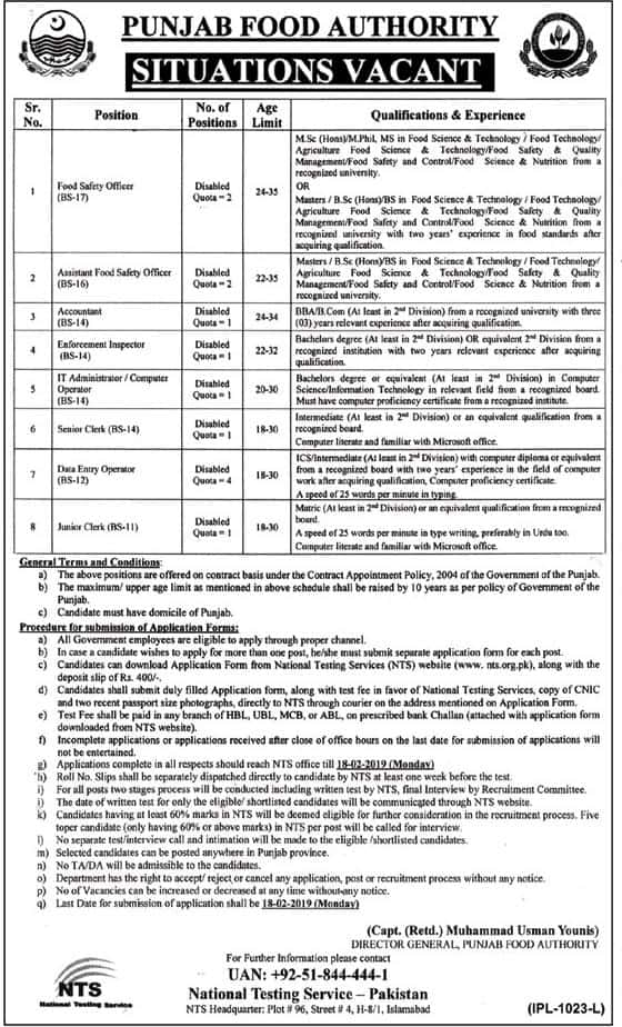 Jobs In Punjab Food Authority Govt Of Punjab Announced via