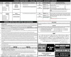 Jobs In Finance Department Punjab 2019
