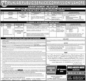 Jobs In Punjab Public Service Commission - PPSC Jobs 2019
