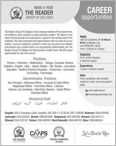 Jobs In Reader Group of Colleges 2019