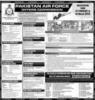 Join Pakistan Air force jobs 2019 - Offers Commission PAF jobs 2019