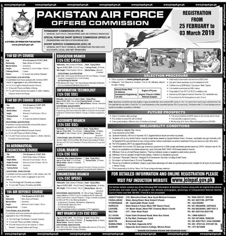 Join Pakistan Air force Jobs 2019 - Offers Commission PAF