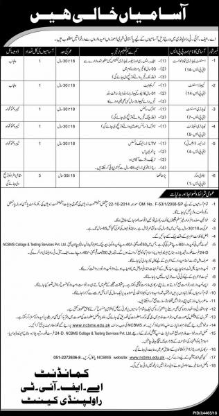 Pakistan Army AFIT Rawalpindi Cantt Jobs 2019