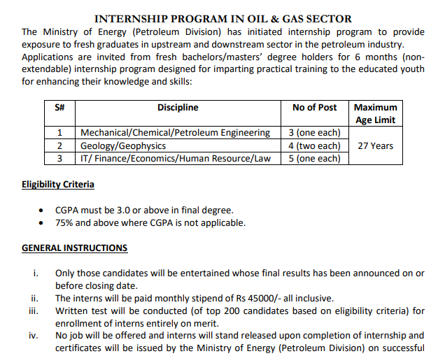 Six Months Internship In Oil & Gas Sector - Ministry of Energy