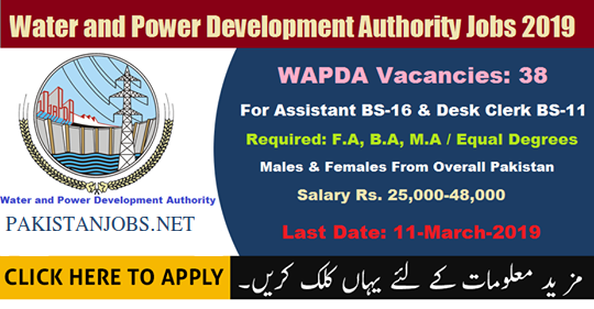 Water & Power development Authority Jobs Application OTS : WAPDA Latest 38 Vacancies March 2019