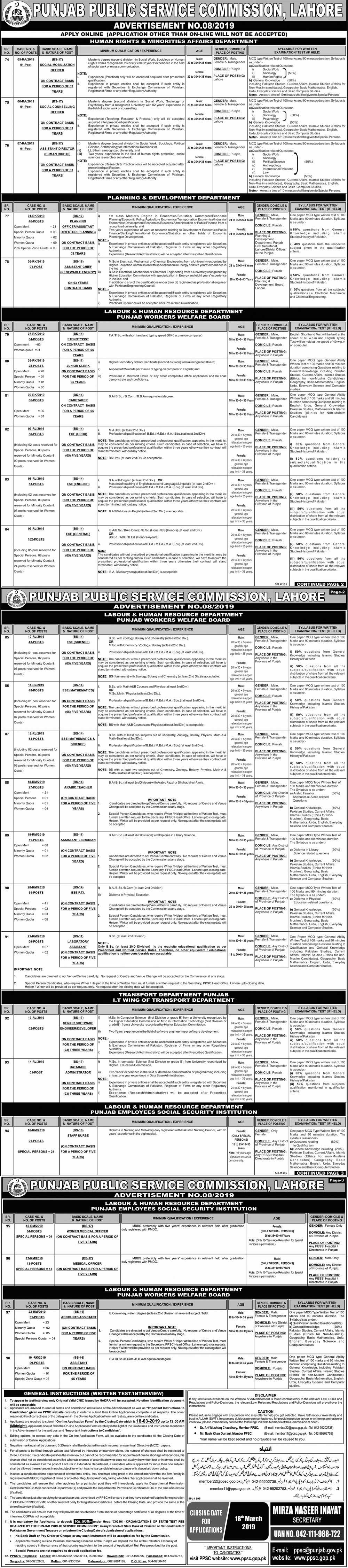 Educators Jobs 2019 By PPSC - New Latest Ad - Labour & Human