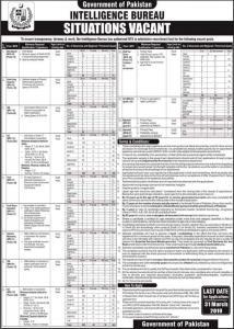Intelligence Bureau Jobs In Pakistan March 2019 - NTS Advertisement