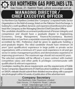 Jobs In Sui Northern Gas Pipelines Limited SNGPL