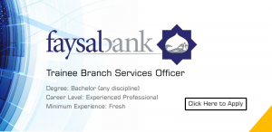 Trainee Branch Services Officer Jobs In Faysal Bank 2019