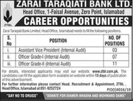Jobs In Zarai Taraqiati Bank Ltd - ZTBL Jobs 2019