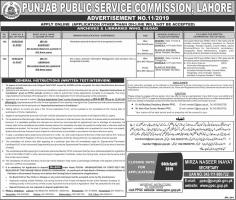 Jobs In Punjab Public Service Commission ADVERTISEMENT NO.11/2019